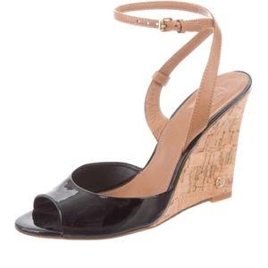 Tory Burch Patent Open Toe Platform Wedges Sandals